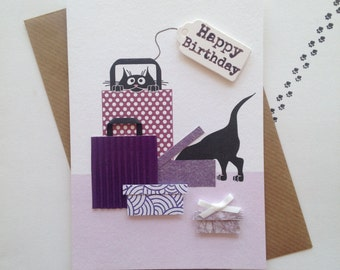 Birthday Treat - hand finished black cat greeting card