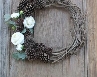 Spring Wreath, Pinecone Wreath, Floral Wreath, Anytime Wreath, Natural Wreath, Rustic Wreath, White Flowers, Spring Decor, Summer Wreath