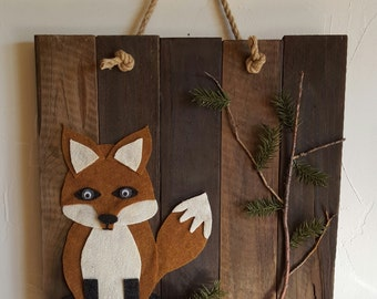 Rustic, handmade fox in nature wall hanging