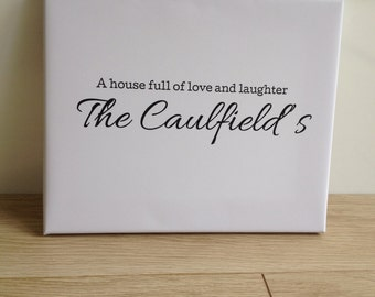 A house full of love and laughter Personalised Canvas