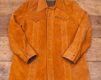 "Mens Vintage 1970s Lee Tan Suede Leather Longline Jacket Size L 46"" R2842"