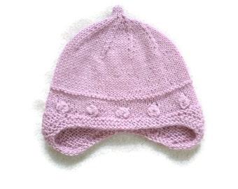 alpaca hat for newborn girl-baby girl hats, hand knit newborn hats, babyhats, kid hats, hant knit baby hat, knit baby hat