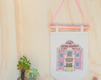 The Grand Budapest Hotel Wes Anderson illustration wall art print, wall hanging, pennant flag, flag banner