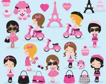 Paris Girl clipart, Paris clipart, Shopping clipart, Cute Paris Girl clipart, Eiffel Tower, Poodle, Cute Girl, Commercial License Included