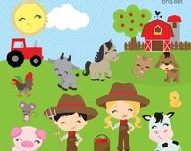 Barnyard clipart, Farm clipart, Farm Animal clipart, Barn clipart, Animals, Farm Boy, Farm Girl, clip art, Commercial License Included
