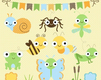Happy Bugs clipart, Bug clipart, Insect clipart, Baby clipart, Insect Jar, Butterfly, Snail, Dragonfly, Bee, Commercial License Included