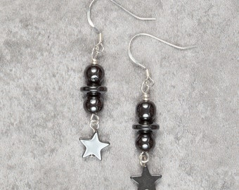 Hematite Star Drop Earrings (024)