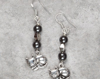 Hematite Cheeky Cat Drop Earrings (017)