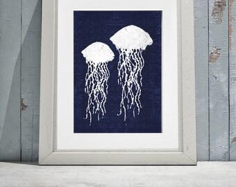 Batik Jellyfish Navy and White Print  8x10 or 11x14