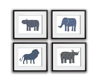 Set of 4 Safari Animal Prints in Blues and Grays 8x10, 11x14, 13x19