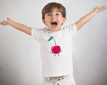 """T-shirt for kids """"Cherry"""" in organic cotton with a hand made screen print"""