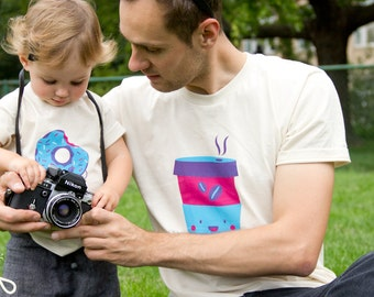 "Father Son T-shirt, best friend, funny matching daddy daughter, gift for dad, graphic tee ""Coffee Team"" organic cotton handmade screenprint"