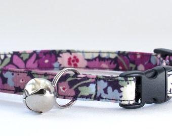Cat Collar, Liberty Fabric, Handmade Cat Collar, Purple Cat Collar, Navy,  Kitten Collar, Cat Collar with Bell, Breakaway Cat Collar, Cat