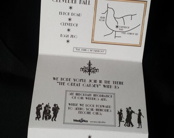 Great Gatsby Inspired Concertina/Fold Out Wedding Invitation