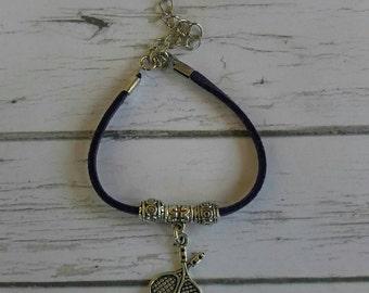Tennis Bracelet// Team Colors// Tennis Mom// Tennis Coach// Tennis Gift// Custom Sports Bracelet for Girls// Choose Color & Sports Charm