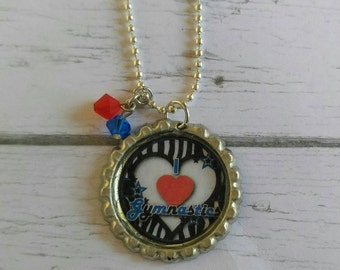 Girls Sports Jewelry// Bottlecap Necklace// Gymnastics Jewelry// Gymnastics Gift// Gymnastics Party Favor
