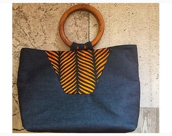 One of a Kind Wooden Handle Denim Tote