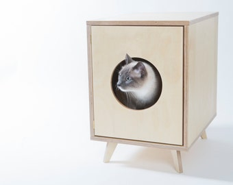 SALE -25% Cat Litter Box Cover - Pet House - Hideaway - Scandinavian Style Pet Furniture - Modern Litter Box Cabinet - Gift for a Cat Lover