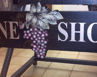 Hanging Wine Grapes Sign