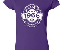 MADE in 1966 All Original Parts Birthday T Shirt Ladies Mens Vintage Birthday Shirt 49th Birthday