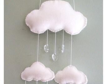READY TO SHIP *** Lovehearts keep falling on my head ** Cloud Nursery Mobile - Nursery Decor- Wall Hanging  - Baby Mobile