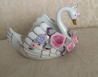 Antique China Swan with Pink Roses
