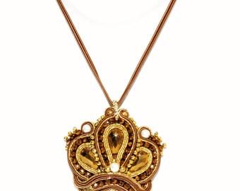 Bronze Gold Crown Crown Queen Soutache Pendant