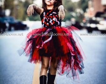Girls Zombie Costume, Zombie Tutu, Zombie Costume, Zombie Tutu Dress, Zombie Halloween Costume, Childs Zombie Costume, Zombie Kids Costume
