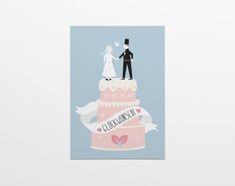 Congratulations! Wedding cake man & woman in A6 format