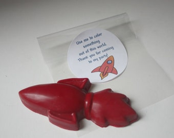 15 Red Crayon Rocket Party Favors