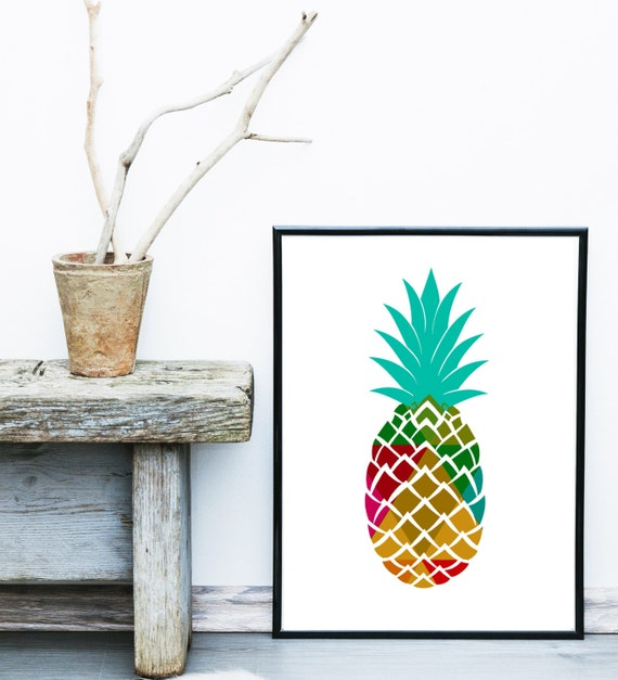 pineapple print pineapple decor tropical print by exileprinted. Black Bedroom Furniture Sets. Home Design Ideas