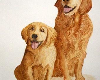 Custom Dog Portrait Watercolor Painting 11x14