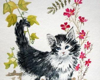 Custom Cat Portrait Watercolor Painting 11x14