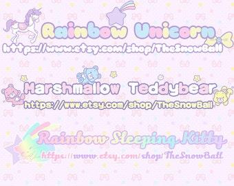 Snowball Design:Cute girly kawaii Rainbow unicorn marshmallow teddybear kitty fantastic fantacy photography premade logo watermark