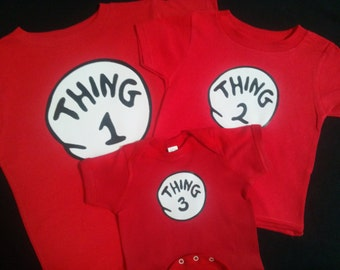 Dr. Seuss THING 1 THING 2 3 4 5 6 7 12 etc. T shirt CUSTOM too