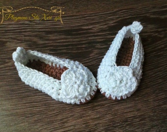 Crochet baby Ballerinas, crochet baby shoes, newborn ballerinas, infant shoes, crochet ballerinas, made to order, baby girl shoes