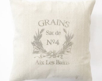 Grains French Grain Sack Pillow Cover - cotton, canvas