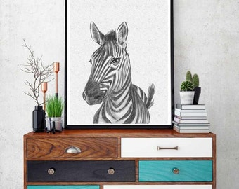 Zebra Print, Nursery Animal Wall Art, Cute Funny Zebra, Black and White Nursery Decor,  Safari African Animal Print,Nursery Printable Poster