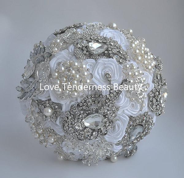 Elegant White Bridal Bouquet : Elegant white wedding brooch bouquet by