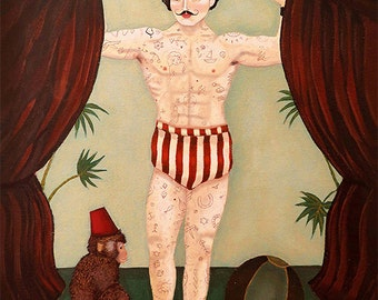 Circus Man Alfonso,canvas,art,man,tattoo,moustache,circus art,vintage,retro,nursery,circus,canvas painting,canvas art,painting,print,monkey
