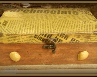 Vintage decoupage box, gift for him, memory box, old newspaper box, unique gift, rustic box, anniversary gift, wood box
