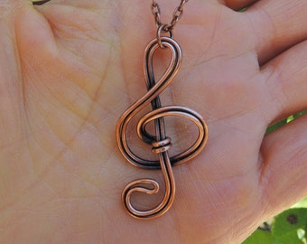 Treble Clef Necklace - Wire wrapped copper pendant - Oxidized copper necklace - Music necklace - Treble clef pendant