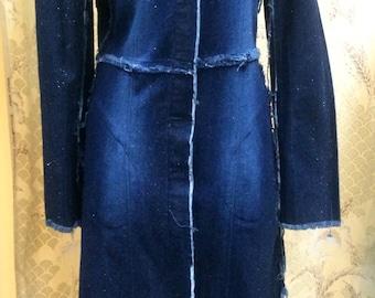 1980's Sparkly Denim Button Down Dress Size Large