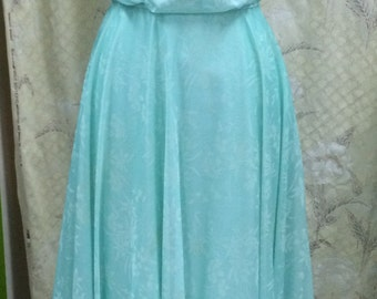 Light green 1970s Chiffon Maxi Dress