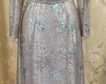 1970s Metallic Floral Print  Dress