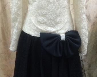 1980s Black and White After 5 Dress