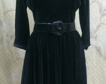 Vintage 1950s Black Velvet Party Dress/Coopertown Fashions, NY