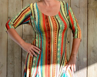 Unica! Super gay and female stretchy dress. Multi-coloured and in a body next model. 42.