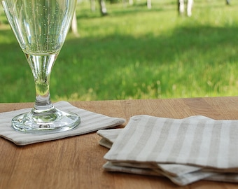 Linen striped coasters set of 6, natural heavy linen drink coasters, rustic linen coasters, fabric coasters