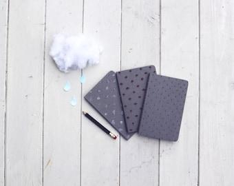 Notebook- Moleskine Cahier Notebook- Rain Set- Set of 3 Notebooks